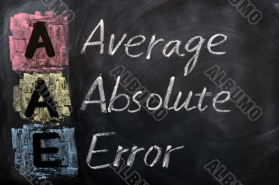 Acronym of AAE for Average Absolute Error