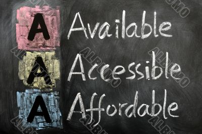 Acronym of AAA - available, accessible. affordable