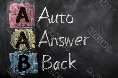 Acronym of AAB for auto answer back