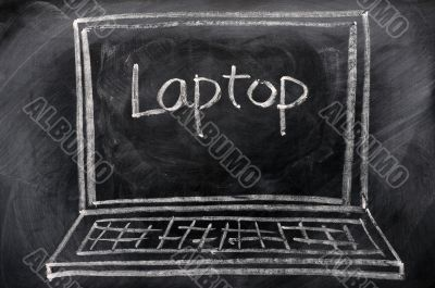 Chalk drawing of Laptop