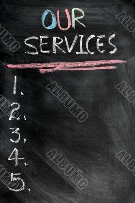 Our services menu