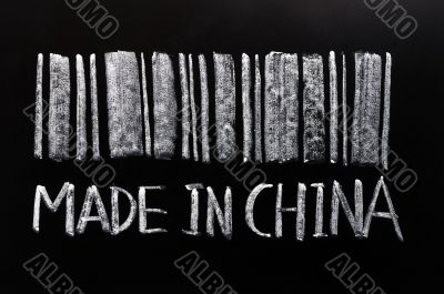 Bar code of `Made in China`written with chalk on a blackboard