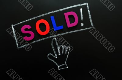 Sold button with a cursor hand