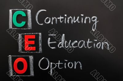 Acronym of CEO - Continuing Education Option