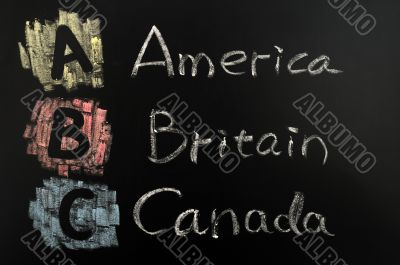 Acronym of ABC - America, Britain, Canada