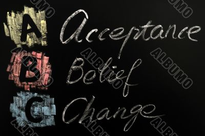 Acronym of ABC - acceptance,belief,change