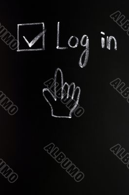 Log in check box with a cursor hand