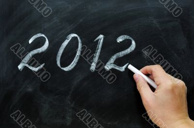 Blackboard / chalkboard with a handwriting of 2012