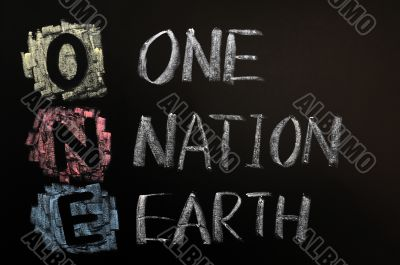 Acronym of ONE - One Nation Earth