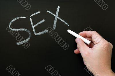 Word of Sex written on a blackboard