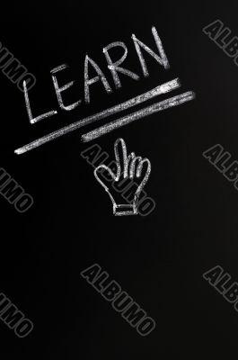 Learn written on a blackboard