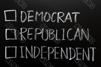 Check boxes of democrat, republican and independent