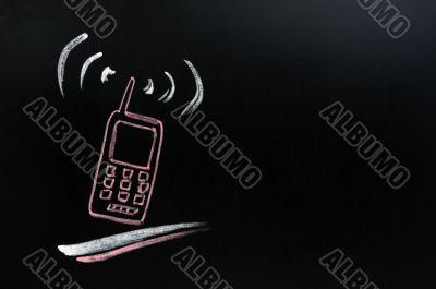 Cellphone background on blackboard