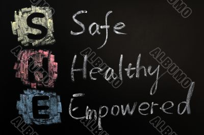 Acronym of SHE - Safe,Healthy and Empowered