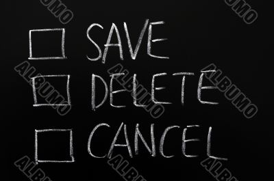 Check boxes of save,delete and cancel