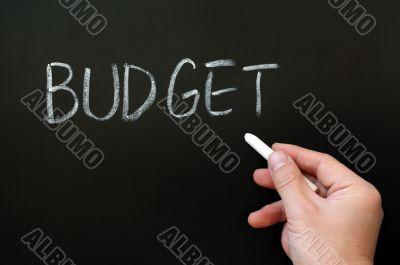 Word of budget written on a blackboard