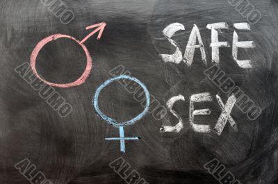 Safe sex concept with gender symbols