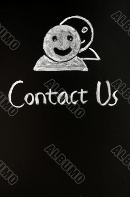 Contact online button with human figures drawn with chalk