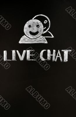 Live chat button with human figures drawn with chalk