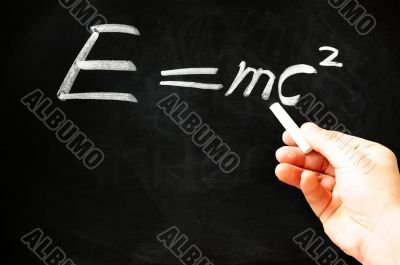 E=mc² Albert Einsteins physical formula on blackboard