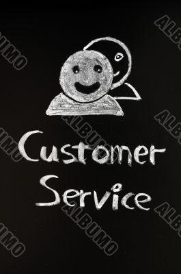 Customer service with human figures drawn with chalk