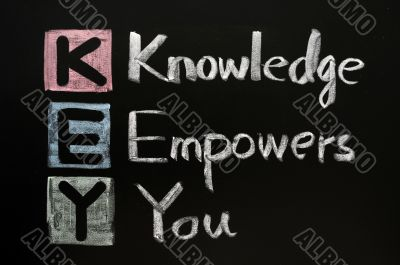 KEY acronym - Knowledge empowers you on a blackboard with words written in chalk.