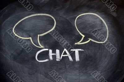 Chat board drawn on a blackboard