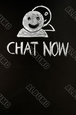 Chat online button with human figures drawn with chalk
