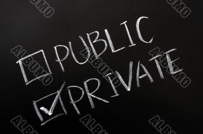 Public and private check boxes
