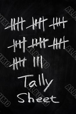 Tally sheet used for counting