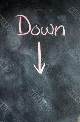 Down written on blackboard
