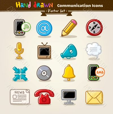 Vector Hand Draw Communication Icon Set