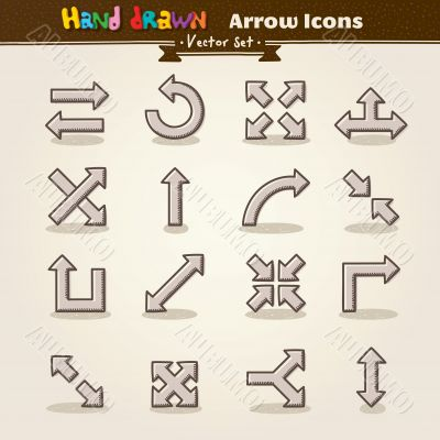 Vector Hand Draw Arrow Icon Set