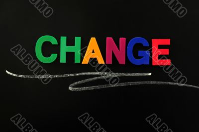 Change - word made of colorful letters