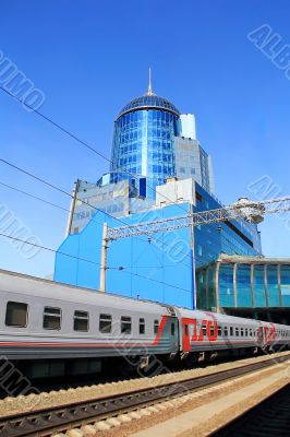 Modern railway station in Samara Russia