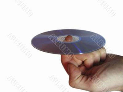 Compact disk and male finger isolated