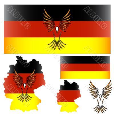 German flag and bird