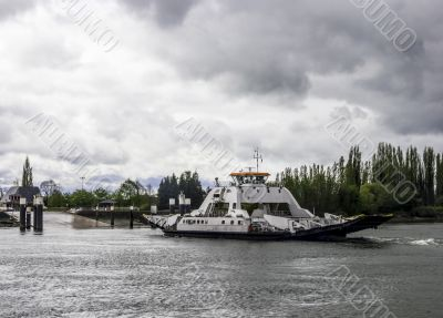 the ferry boat for vehicles transportation across the river