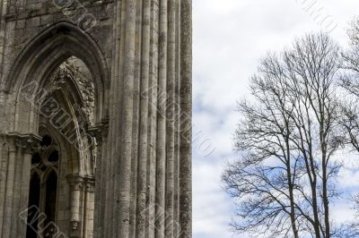 the ruins of the abbey in northern France