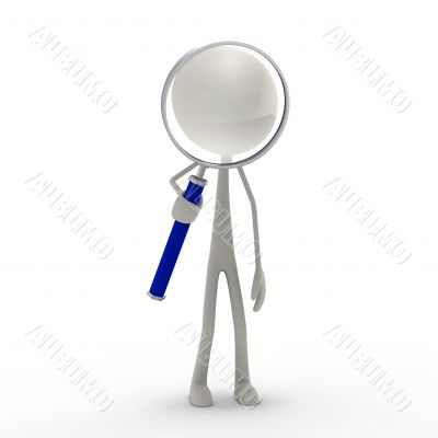 figure with loupe