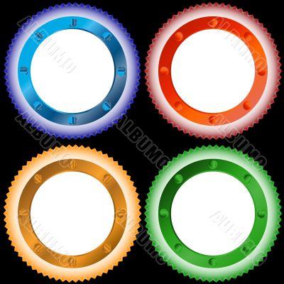 Four multi-colored stickers