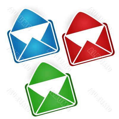 Three multi-colored envelopes