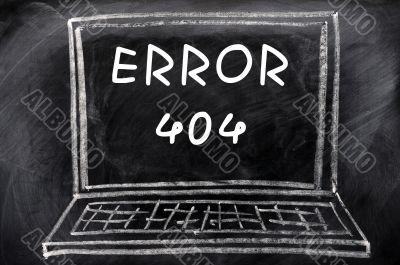 Error 404 on a blackboard background