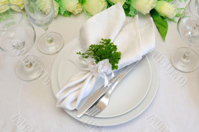Fragment serving festive table