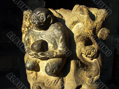 Ancient rock carving art of monkey