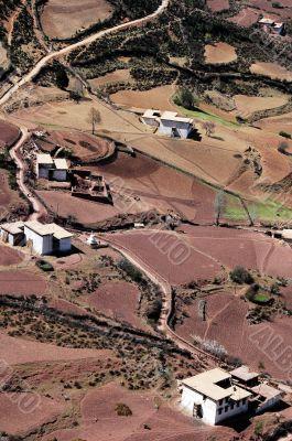 Birdeye view of a Tibetan village