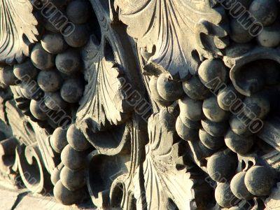Ancient brick art of grapes
