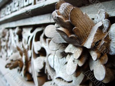 Ancient wood carving art of lotus