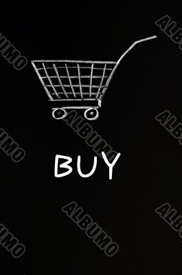 Shopping cart drawn with chalk