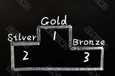 Gold,silver and bronze on medals podium